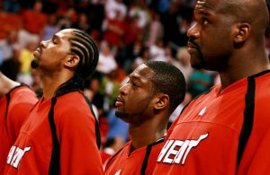 Udonis Haslem, Dwyane Wade and Shaquille O'Neal