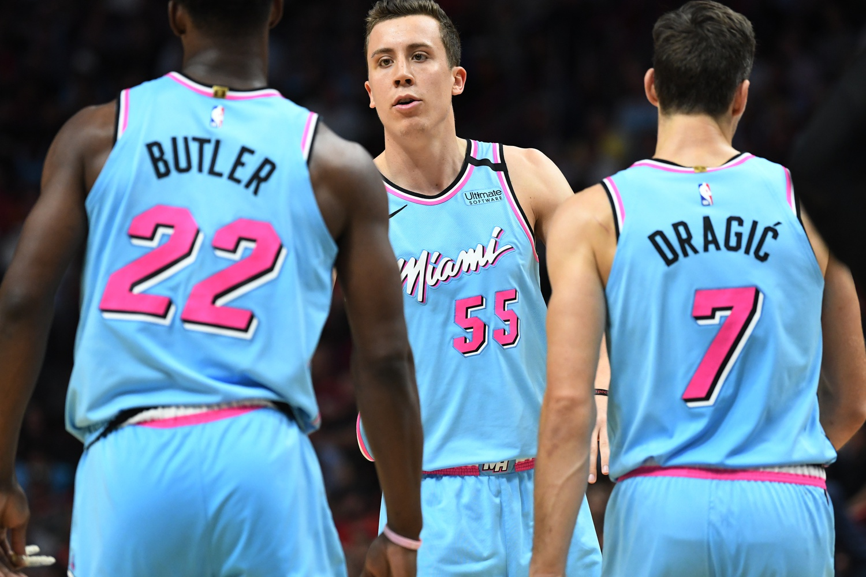 Jimmy Butler, Duncan Robinson and Goran Dragic