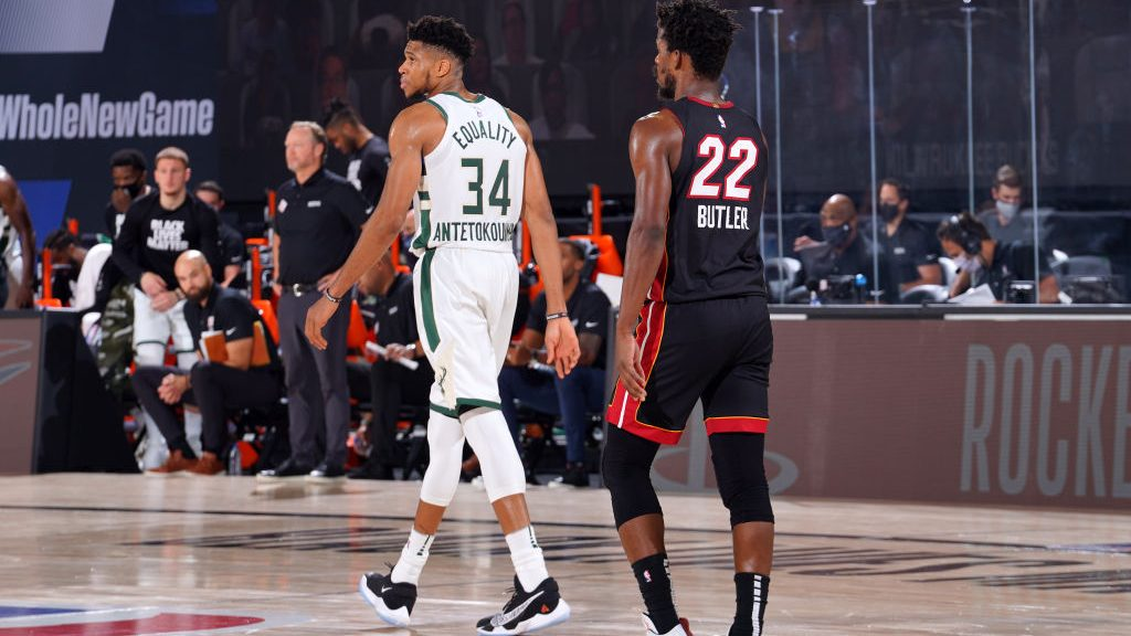 Giannis Antetokounmpo and Jimmy Butler