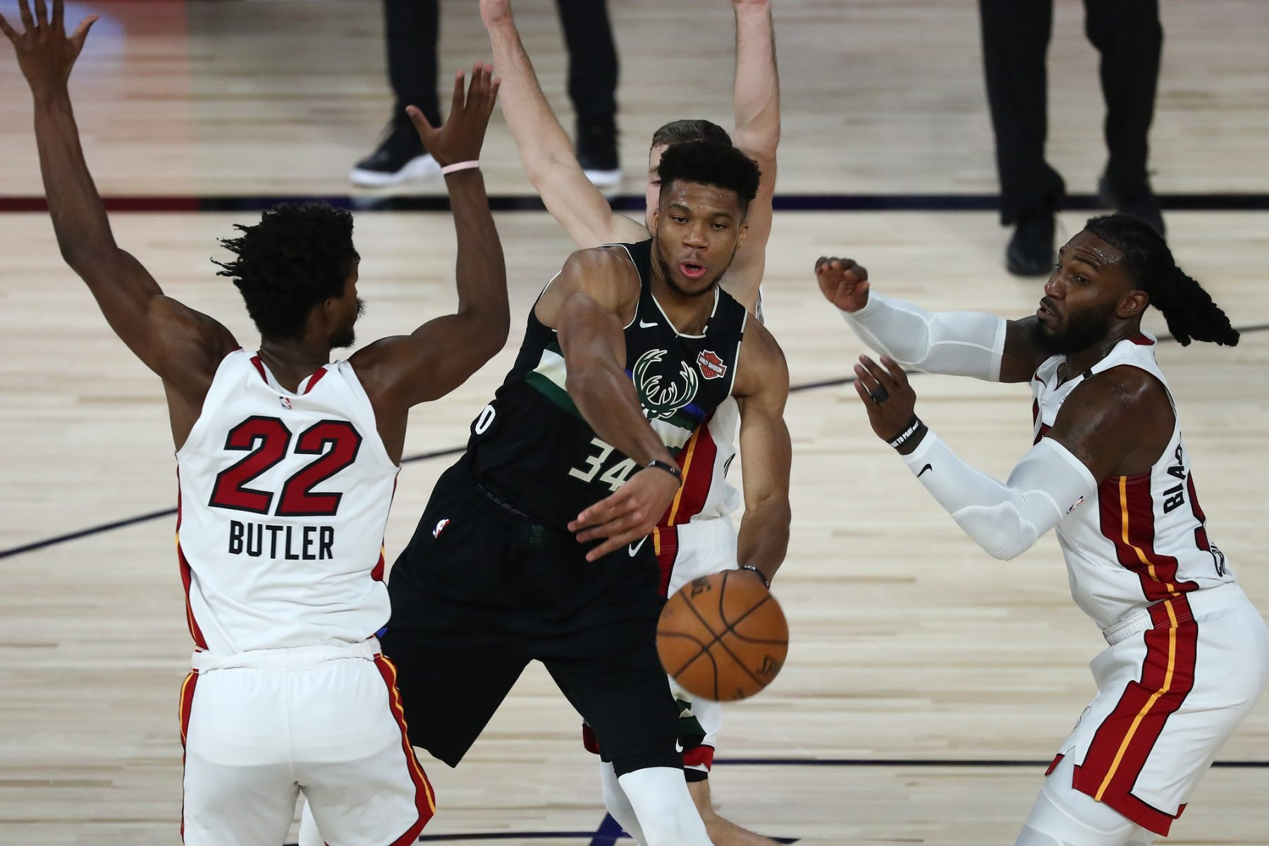 Giannis Antetokounmpo, Jimmy Butler and Jae Crowder