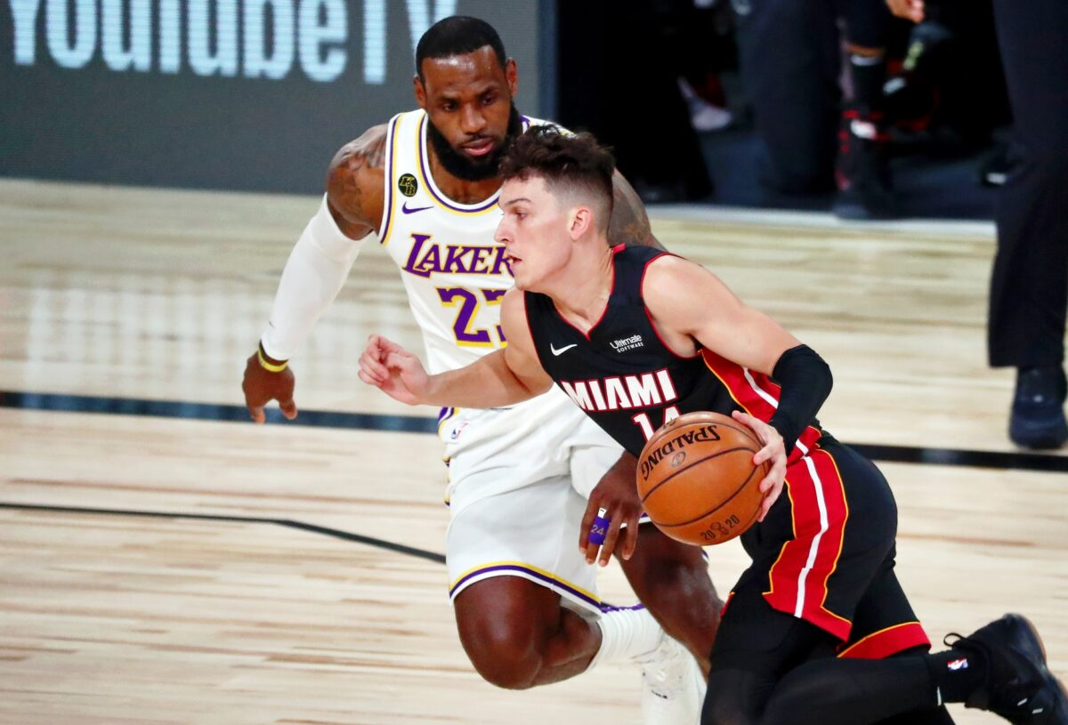 Tyler Herro and LeBron James