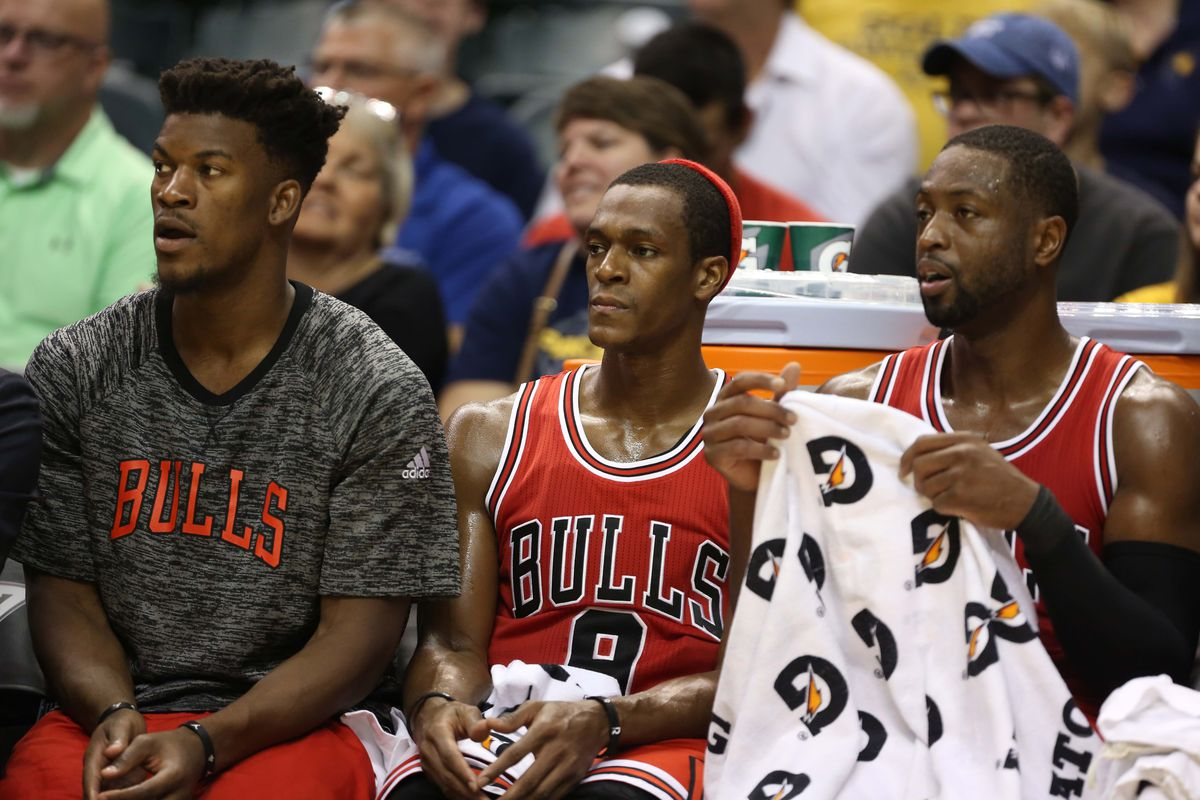 Dwyane Wade, Jimmy Butler and Rajon Rondo