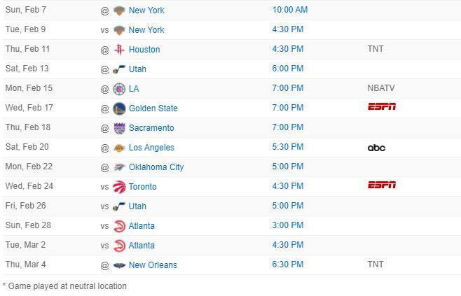 Miami Heat 2020-21 schedule
