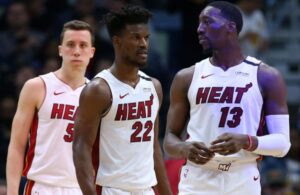 Duncan Robinson, Jimmy Butler and Bam Adebayo