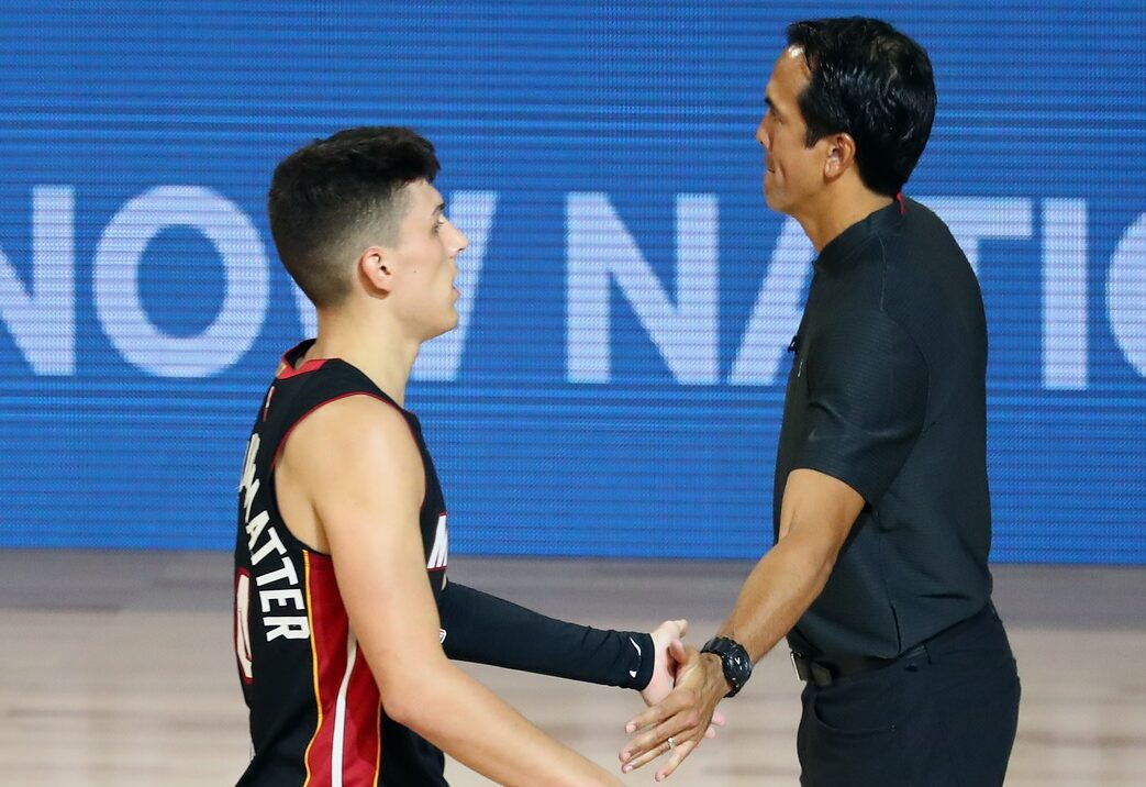 Tyler Herro and Erik Spoelstra