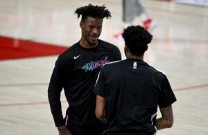 Jimmy Butler and Derrick Jones Jr.