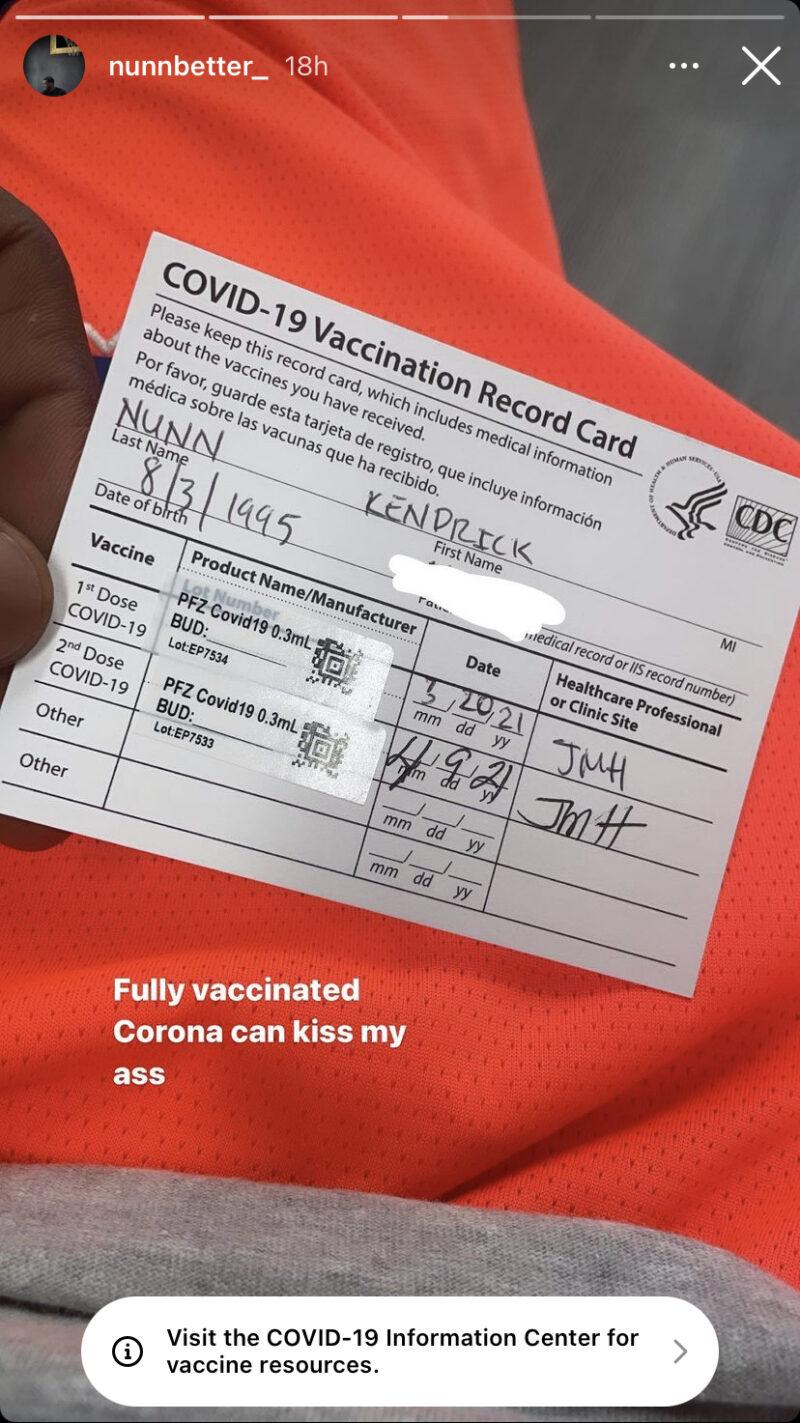 Kendrick Nunn vaccine