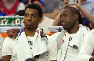 Hassan Whiteside and Dwyane Wade