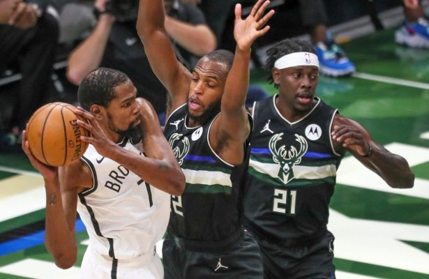 Jrue Holiday, Khris Middleton and Kevin Durant